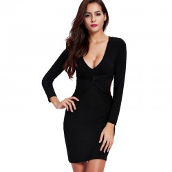 Formal Long Sleeve Formal Dress Elegant Party Luxury with Deconte