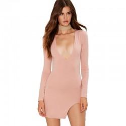 Vestido Bodycon Curto Mini Rosa Manga Longa Com Deconte Profundo
