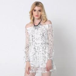Vestido Branco Lady Curto Fashion Brilhante Feminina Ombro Caido