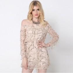 White Lady Short Dress Shiny Fashion Female Shoulder Dropped