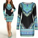 Short Dress Black African Print Long Sleeve Working Summer
