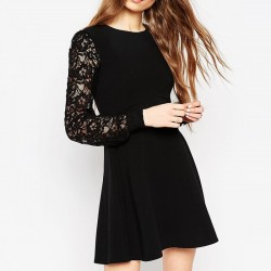 Dress Dark Funebre Mourning Female Casual Black Long Sleeve Lace