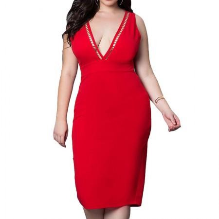 Red Knee Length Evening Party Dress Elegant Lady Romantic