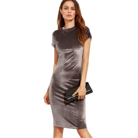 Mid Gown Silk Party Gown Velvet Sober Neutral Graphite