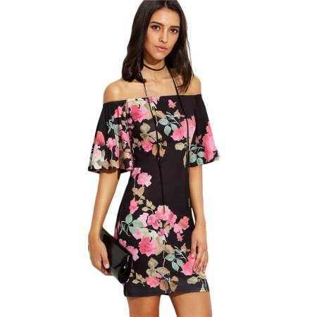 Short Floral Dress Black Shoulder Fallen Casual Summer Slim Cute 3/4 Sleeve
