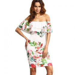 Short White Floral Short Shoulder Fall Fashion Casual Summer With Ruffle