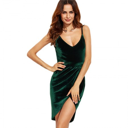 Short Dress Dark Green Velvet Silk Party Club Night Vip