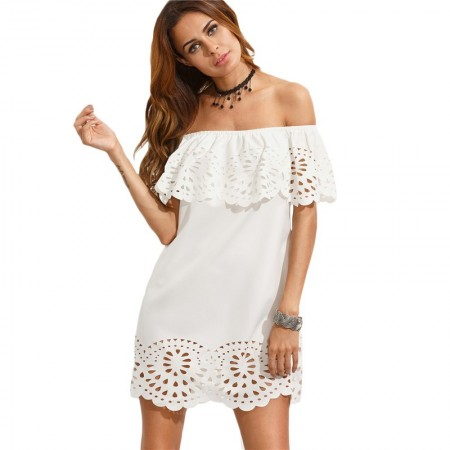 Vestido Praia Verão Branco Ombro Caido Artezanal com Babado e Recorte