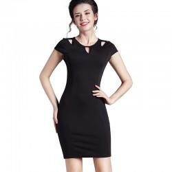 Vestido Social de Trabalho Roxo e Preto Confortavel Moda Formal Senhoras