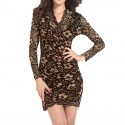 Dress in Reindeer Floral Knit Black and Brown Long Sleeves Party