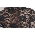 Vestido em Rena Floral Tricotado Preto e Marrom Manga Comprida Festa