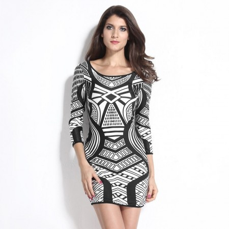 Dresses Black and White Print Geometric Vintage Long Sleeve