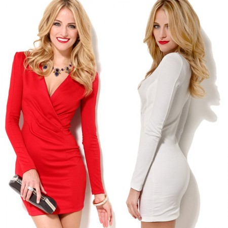 Elegant Party Dress and Working with Shoulder Long Sleeve Red