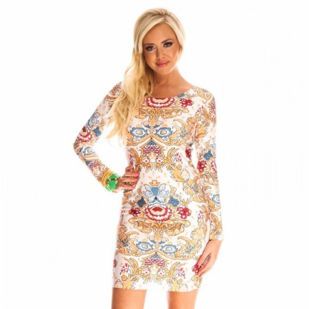 White Indian Print Dress Floral Long Sleeve Casual Party Club