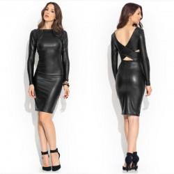 Black Cocktail Dress Party Club Long Sleeve Elegant Luxury Leather