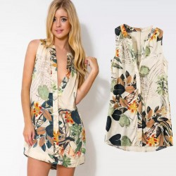Tropical Floral Dress Beige Patterned Flowers Summer Beach Fashion