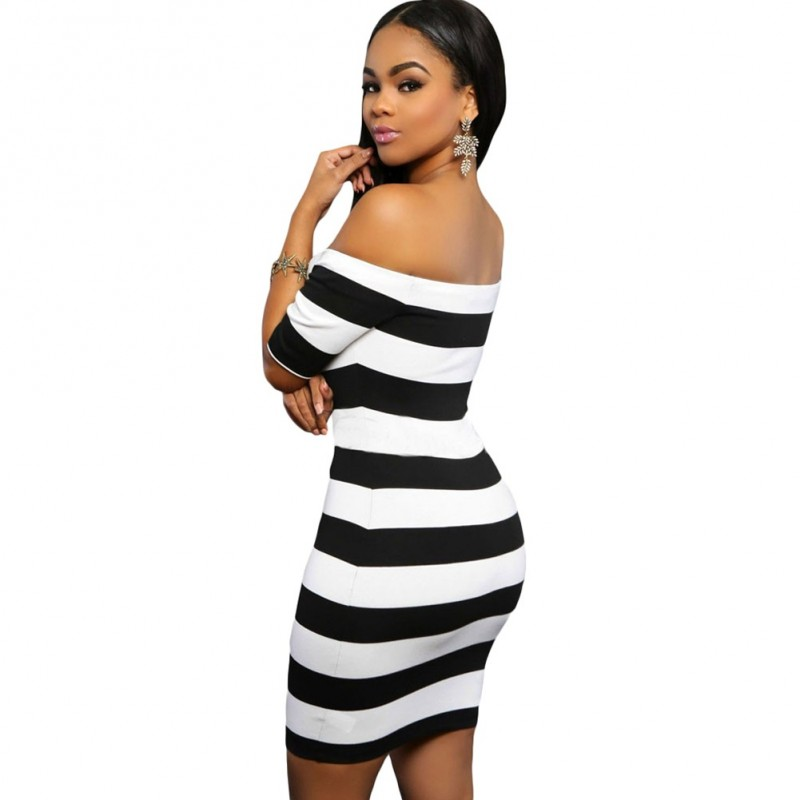 974d4e29c Vestido Listrado Branco Zebra Ombro Caído Curto Casual Festa Clube