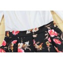 Floral Short Black and White Women's Dress