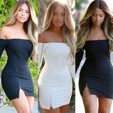 Short Sleeved Dress Fallen Sleeveless Black And White Zipper