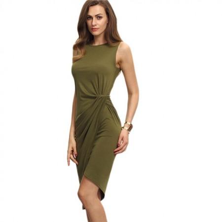 Vestido Desalinhado Verde Opaco Casual Mulher de Trabalho Curto Cinta