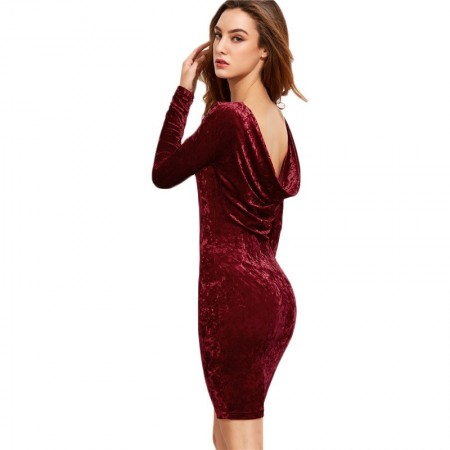 Velvet Wine Dress Elegant Female Cheap Long Sleeve