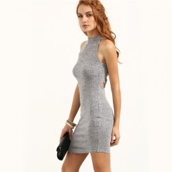 Dress Gray Light Thick Knit Cross Style Olympic Collar