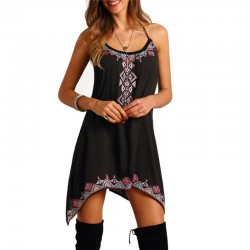 Women's Country Black Mexican Dress Use with Bare Scallop