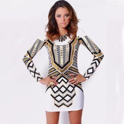 Midi Dress Carnival White and Gold Female Long Sleeve Flamboyant