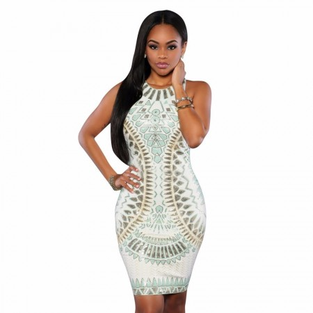 Midi Empire White Dress With Green Fashion Summer Sleeveless Party
