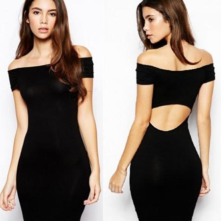 Short Black Empire Dress Fallen Shoulder Fashion Asymmetrical Summer