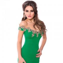 Vestido Festa de Formarmatura Bodycon Verde e Preto com Dourado Elegante