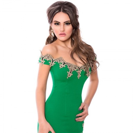 Green and Black Bodycon Shaping Party Dress with Elegant Gold