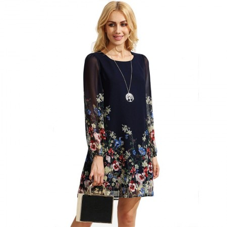 801/5000 Floral Casual Dress in Chiffon Navy Blue Long Sleeve Day & Labor