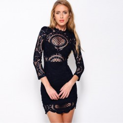 Dress in Lace Floral Embroidery White and Black Celebrities Casual Short