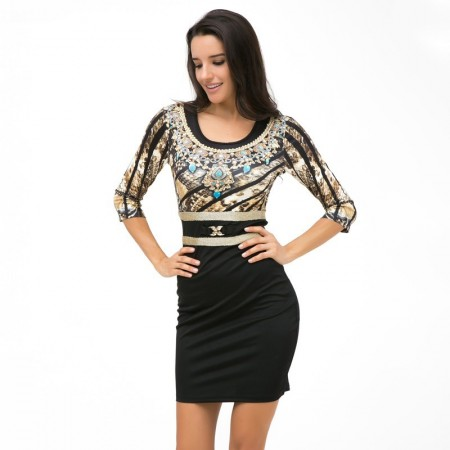 Midi Black And Gold Party Dress With Crystals 3/4 Sleeve Leopard