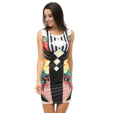 Vestido Estampada Geometrico Arte Abstrata Moda Verão Tropical