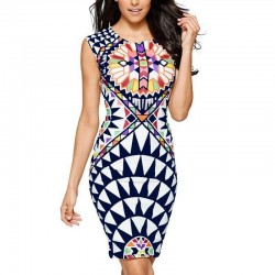 Midi Casual Summer Geometric Dress Red and Navy Blue