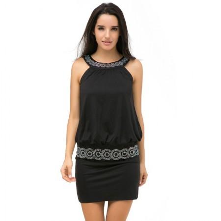 Midi Black and White Casual Dress Regata With Strap And Wide Collar