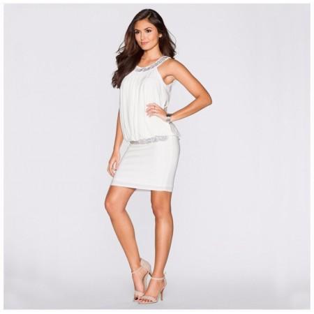 Vestido Midi Preto e Branco Casual Regata Com Cinta e Gola Larga