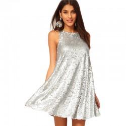 Vestido Branco Prateado de Paetê Princesa Solto Reveillon Festa