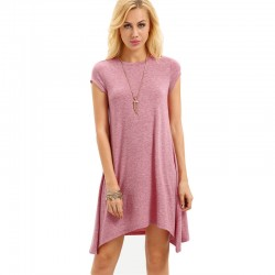 Pink Asymmetric Sheath Dress Textured No Neckline Behaved