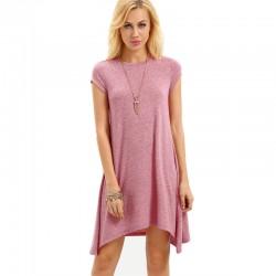 Vestido Bainha Assimetrica Rosa Texturizado Sem Decote Comportado