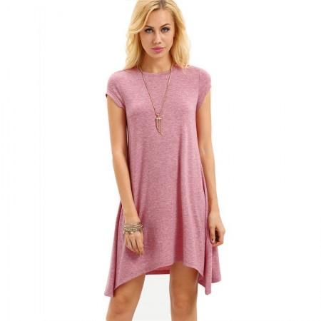 Pink Asymmetric Sheath Dress Textured No Neckline Behaved