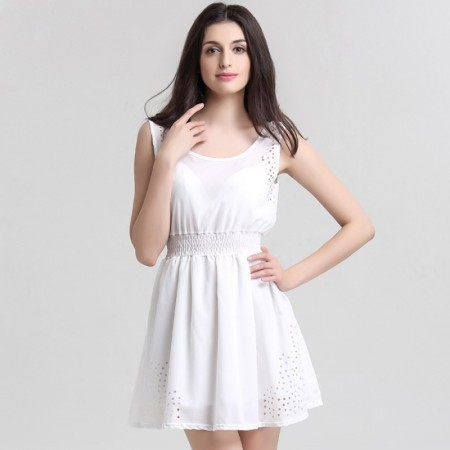 676bed8a77 Vestido Básico Feminino Casual Branco Curto em Chiffon Regata Moda Praia