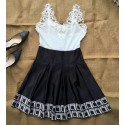 Dress Delicate Short Skirt Black and White with Embroidery in Lace