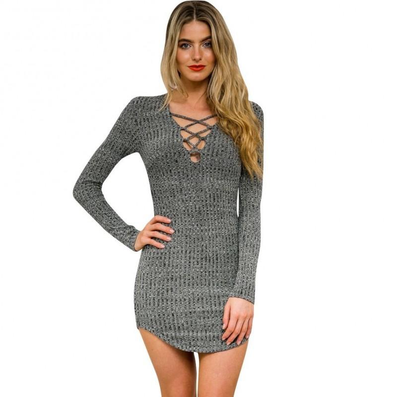 abe602e83e84 Vestido de Inverno de Lã Tricotado Cinza Curto Desalinhado Manga Comprida