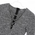 Winter Dress in Wool Knit Short Gray Scruffy Long Sleeve
