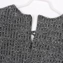 Vestido de Inverno de Lã Tricotado Cinza Curto Desalinhado Manga Comprida