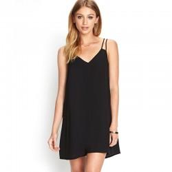 Short Dress Basic Slim Fashion Beach Feminine Casual Simple Black And Blue