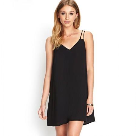 Vestido Curto Básico Fino Moda Praia Feminina Casual Simples Preto e Azul